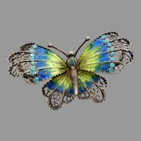 Vintage Guilloch Enameled Butterfly, Marked 800 Silver