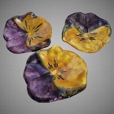Set of 3 Hand Painted Pansy Dishes by Stangyl