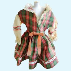 Vintage Plaid Taffeta Doll Dress for 50's American Character Sweet Sue Doll