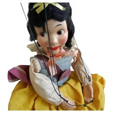 "vintage ""Snow White"" Composition and Wood Puppet in Original Box"