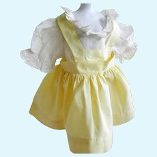 """Vintage Yellow Cotton and Batiste Doll Dress for Vintage Hard Plastic Doll 14-16"""""""