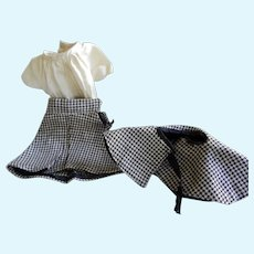 Vintage Wool Checked Skirt, Cape and Blouse for 15-18 inch Doll