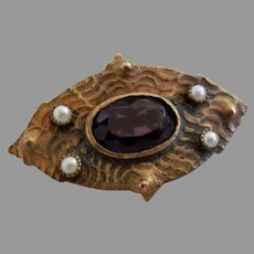 Vintage Gold Filled Brooch with Seed Pearls and Purple Glass Stone
