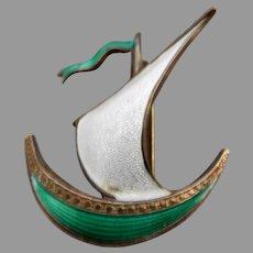 Vintage Sterling Guilloche Enamel  Sailboat Brooch, Norway