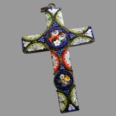 Vintage 15/8 inch Micro Mosaic Cross Pendant, marked Italy