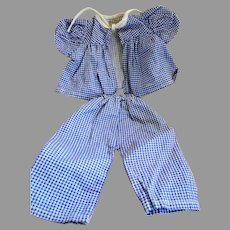 "Vintage Blue and White Gingham Pants or Pajama Set for 15 - 18 "" Hard Plastic Doll"