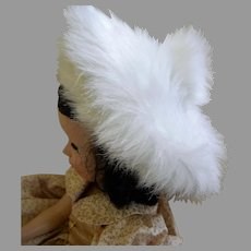 Vintage Faux Fur Tam and Muff for Hard Plastic Doll, 18 -22""