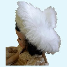 """Vintage Faux Fur Tam and Muff for Hard Plastic Doll, 18 -22"""""""