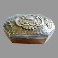 Vintage German 8 Sided Wooden Box with Silver -plate Lid