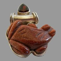 Sterling Silver and Gold-stone Frog Pendant