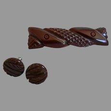 Vintage Chocolate Bakelite Brooch and Earrings
