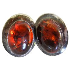 Vintage Sterling and Amber Pierced Earrings