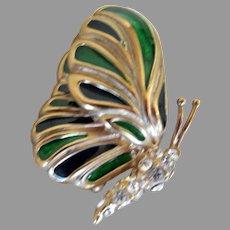 Vintage Krementz Enameled and Rhinestone Butterfly Brooch