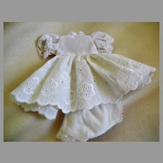 "Vintage White Cotton Eyelet Dress and Panties for 8"" Doll"