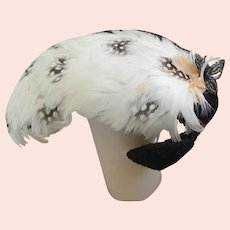 Vintage Women's or large Bisque Head Doll's Hat with Feathers.