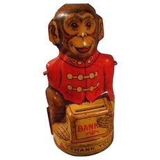 Vintage Tin Monkey Bank by Chein
