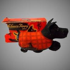 """Antique Schuco Tin Wind up """"Tippy"""", Black Scotty in Original Box"""
