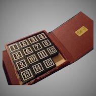 Vintage Leather Bookshelf Game, 15 Puzzle