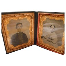 Civil War  Daguerre Type Frame with 2 Tintype Pictures