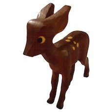 """Vintage Carved Wooden """"Bambi"""" Figures"""