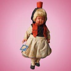 Vintage Celluloid Black Forest German Doll, Turtle Mark, All Original