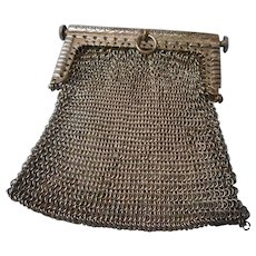 Vintage Silver-plate Mesh Coin or Doll Purse with Fancy Frame