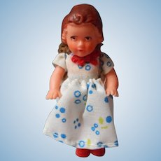 German Jointed Doll House Doll, Original Costume