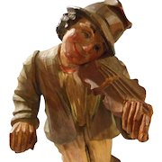 Vintage Hand Carved Violin Player, Anri, Italy