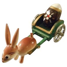 All Wood Hand Painted Bunny Pulling Cart, Spain