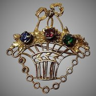 Vintage Filagree Basket Brooch