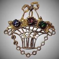 Vintage Filagree Basket Brooch
