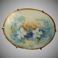 Vintage Hand Painted Porcelain Floral Brooch