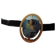Fine Hand Painted Portrait  Lavaliere by Winard
