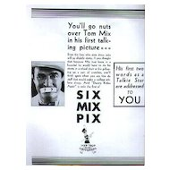 Tom Mix Full Page Magazine Ad - Scarce