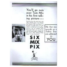 Tom Mix Full Page Magazine Ad - Scarce