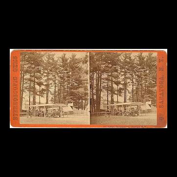 Saratoga Springs, New York Stereoview Indian Encampment