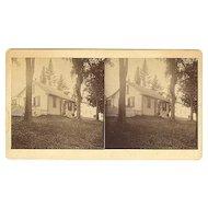 North Bridgton, Maine John Mead Residence Stereoview by Burnham