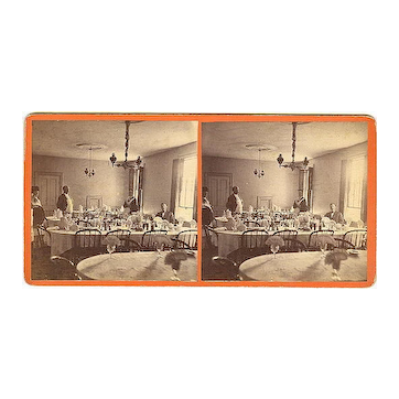 Searsport, Maine Stereoview Searsport House Dining Room & Wait Staff