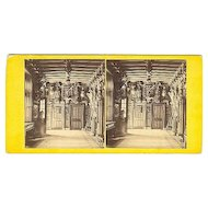 Early Melrose, Scotland Abbotsford Mansion Interior Stereoview by Wilson