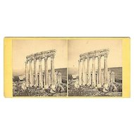 Early Baalbek, Lebanon Temple of Jupiter Stereoview by F.M. Good