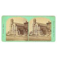 "Portland, Maine Stereoview Old ""New Jerusalem Temple"" on High Street"