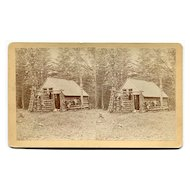 Jonesboro, Maine Sports Deer Hunting Log Cabin Stereoview by Lane