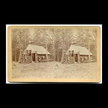 Jonesboro, Maine Sports Deer Hunting Log Cabin Stereoview by Lane