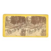 Andes*, New York area Stereoview Parade Fire Wagon & Firemen