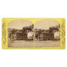 Bangor, Maine Stereoview Old Grammar School Building with Out-House