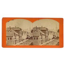 Dexter, Maine Stereoview Main Street Scene with Storefronts