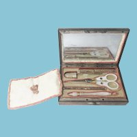 19th Century Palais Royal Sewing 6 Piece ETUI Box with Mother of Pearl Double Pansy
