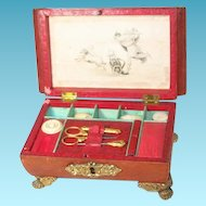 Leather Georgian Child's Sew Box with Engraving and Fittings, Original Antique, 19th Century