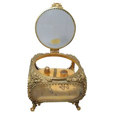 Large 24KT Gold Plated  Casket Box, HAND Beveled Crystal Glass Ormolu & Five 14KT SOLID GOLD Antique SEWING Tools