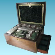 18pc Mahogany,Silver & Crystal  Travel and Sewing NECESSAIRE with a secret compartment; Antique 19th Century with Mother-of-Pearl ETUI tools